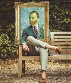 Vincent on a bench -