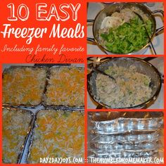 *Chicken Divan 10 Easy Freezer Meals {Including a Family Favorite} - The Humbled Homemaker Thm Recipes, Crockpot Recipes, Real Food Recipes, Chicken Recipes, Cooking Recipes, Freezer Chicken, Freezer Recipes, Chicken Rice, Recipies
