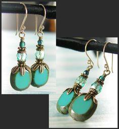 Turquoise Blue Earrings Czech Glass in Vintage Turquoise Drop Earrings Antique Gold Brass Earrings Blue Earrings. $26.00, via Etsy.