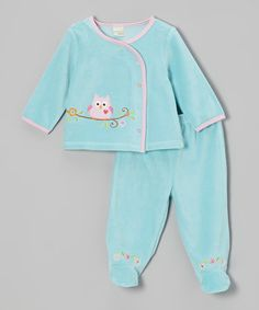 Take a look at this Aqua Woodland Owl Velour Wrap Top & Footie Pants on zulily today!