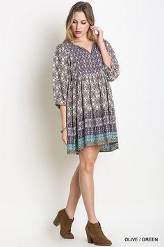 Красива Мрійник плаття - оливковий / зелений - Angel Heart Boutique