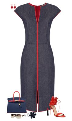 Denim dress by julietajj on Polyvore featuring polyvore fashion style Casadei Hermès WithChic Gucci Forever 21 clothing