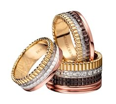 """3 variations of the Quatre ring in yellow gold, white gold, white gold set with diamonds, """"chocolate"""" gold and pink gold by Boucheron"""
