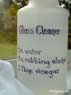 glass cleaner...my daughter made this at GS. Easy to make & it gets dirty glass clean :)  Been making this glass cleaner for several years, works great !