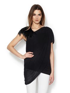 505bdd6644f348 Asymmetrical Feather Top by Helmut Lang at Gilt