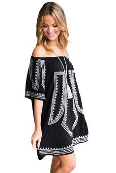 82f697023b35 Black Bohemian Vibe Geometric Print Off The Shoulder Cotton Beach Dress