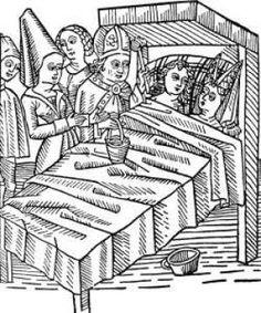 I middelalderen påvirkede kirken den måde man så på kvinde- og manderollerne. Her et tysk træsnit af et bryllup fra 1400-tallet.