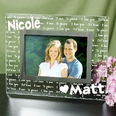 couples engraved glass picture frame engraved i love you photo frame