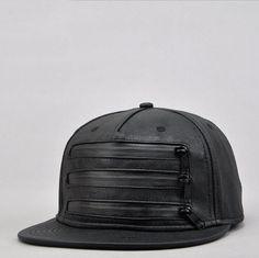 Men Street Fashion Flat Brim Baseball Hat Kpop Snapback Pu Cap Black #Unbranded #BaseballCap