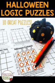 Logic puzzles are great fun for kids while they practice critical thinking and problem solving skills. This pack has 10 Halloween logic puzzles that are perfect for the days around Halloween, October morning work, Halloween math stations, Halloween party days, and more! Fun Halloween Activities, 1st Grade Activities, Halloween Math, Halloween Labels, Spider Halloween Costume, Logic Puzzles, Classroom Crafts, Math Stations, Teacher Hacks