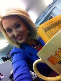 "Coming to you from the newsroom! Scripts & coffee in hand. My family is ""up north"" from downstate, & get to watch MTM LIVE today! Also - wearing purple to benefit Comfort Keepers Northern Lower Michigan - every ""selfie"" posted to their Facebook page, of you wearing purple, means $1 donated to Alzheimer's Awareness! (...jacket may look blue, but it's purple, I promise!) - Sara Simnitch 6.23.14"