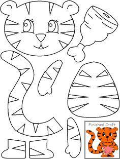 Cut paste tiger crafts and worksheets for preschool,toddler and kindergarte Animal Crafts For Kids, Paper Crafts For Kids, Toddler Crafts, Preschool Activities, Art For Kids, Arts And Crafts, Puppet Crafts, Felt Crafts, Cutting Activities