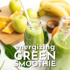 This energizing healthy green smoothie recipe is filled with whole nutritious ingredients to help you boost your immune system, energy and focus. Green Detox Smoothie, Healthy Green Smoothies, Green Smoothie Recipes, Breakfast Smoothies, Healthy Drinks, Apple Green Smoothie, Spinach Apple Smoothie, Green Machine Smoothie, Celery Smoothie