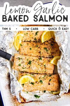 Put a quick and healthy dinner on the table with this recipe for Lemon Garlic Butter Salmon Baked in Foil. Super easy to make and absolutely delicious This recipe is Trim Healthy Mama friendly (THM S), low carb, gluten free (if using certified gluten free Seared Salmon Recipes, Easy Salmon Recipes, Lemon Recipes, Seafood Recipes, Healthy Recipes, Steak Recipes, Fish Recipes Gluten Free, Simple Salmon Recipe, Cooker Recipes