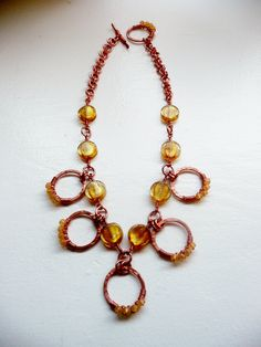 Lemony Copper Wire Bib Necklace. $45.00, via Etsy.