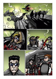 Página da HQ Jovens Heróis - Desafios de uma Outra Terra Parte 02 (inédita) com arte de Adriano Sapão e cores de Marcos Gratão