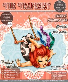The Trapezist - Digital Stamp A4 Sheet Size, Ink Stamps, Paper Background, Digital Stamps, Digital Image, Outline, Card Stock, Products, Digi Stamps