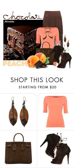 """nr 894 / Peach & Chocolate"" by kornitka ❤ liked on Polyvore featuring NOVICA, Lauren Ralph Lauren, Yves Saint Laurent and Giuseppe Zanotti"