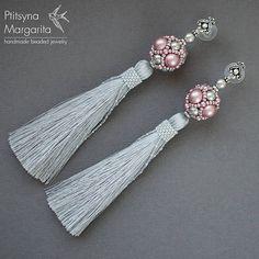 Long tassel earrings Pink and Gray earrings with