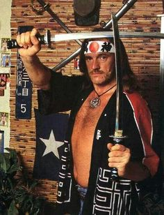 It's Lemmy with Katana swords! How could this ever be topped? #Lemmy #Kilmister #katana #sword #rock #roll #heavy #metal