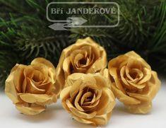 Novinkové látkové zlaté mini růže v metalické provedení Mini, Flowers, Plants, Plant, Royal Icing Flowers, Flower, Florals, Floral, Planets