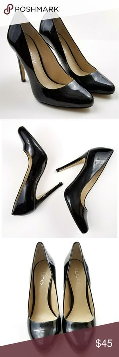 Aldo Black Patent Leather Pumps Aldo, black patent leather, pump style, a couple of dings in the heel as pictured, otherwise in excellent condition, size 7. Aldo Shoes Heels