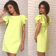 2016 New Arrival Women Summer Style Dress Casual Butterfly Sleeve Sexy Backless Dress Vestidos
