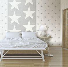 Kombinera stora och små stjärnor i samma färgskala för effektfulla men rogivande väggar i sovrummet. Tapeter från kollektionen Hantverk 17321+17325. Klicka för att se fler inspirerande tapeter för ditt hem!