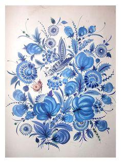 Petrykivka painting by Vasyl Sokolenko, Ukraine