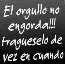 El orgullo no engorda!! Tragueselo de vez en cuando! #spanish #quotes