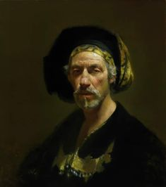 David Leffel  Millenium Portrait  Apparently in homage to Rembrandt.  http://brightlightfineart.com/david-a-leffel/  #leffel #portraits #paintings