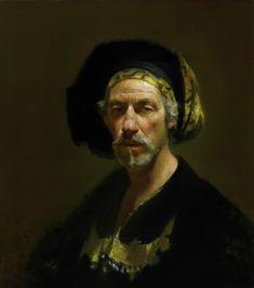 David Leffel  Millenium Portrait  Apparently in homage to Rembrandt.  http://brightlightfineart.com/david-a-leffel/  #leffel #portraits #paintings