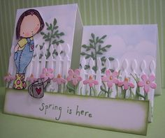Stamping with Loll: Spring is here in the garden - step card, dies, coloring with markers