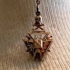 Antique 1800 IOOF Independent Order of Odd Fellows GF Enamel Fraternal Order Watch Fob IOOF Skull Bone Collectible Fraternal Order Watch Fob
