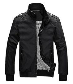 The One Men's Stylish Slim Fit Polo Jacket Autumn Winter Coat CO04, Black Medium - Brought to you by Avarsha.com