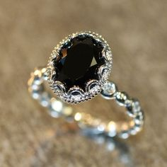 Hey, I found this really awesome Etsy listing at https://www.etsy.com/listing/227963572/floral-diamond-black-spinel-engagement