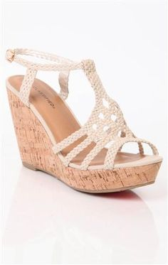 open toe platform crochet wedge with cork heel and braided straps