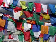 Tibetan prayer flags on the road from Manali to Leh