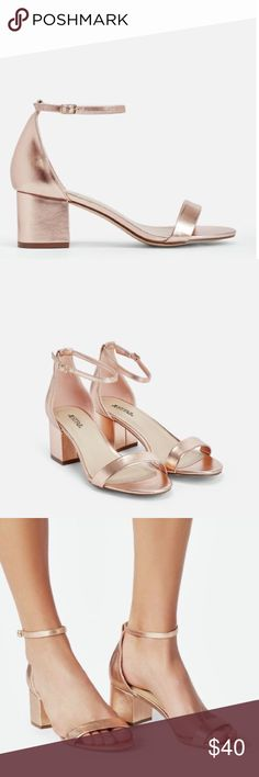 """SANOURA ROSE GOLD METALLIC BLOCK HEEL SANDALS New! Just Fab. A sexy but totally functional low block heel with a minimal two-strap design. Approx. Heel Height: 2.25"""" Fit: True to Size (not zara) tags- Steve Madden Simmi public desire unif PacSun Kendall and Kylie forever21 asos topshop Zara Shoes Sandals"""