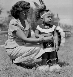 Larry Good Fox and his mother at the American Indian Exposition in Anadarko, Oklahoma - Pawnee - 1949