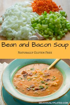 Tired of the same old dinner recipes?  This bean and bacon soup will breathe some new life into your meal planning.  Click through now for this easy recipe! #soup #glutenfree #easy via @leslie9612