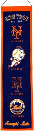 New York Mets Winning Streak Heritage Banner - Banner is 8x32 and depicts the evolution of Mets logos with circa dates - Embroidery and applique detail on wool blend felt