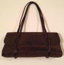 Ralph Lauren Chocolate Suede  Baguette Handbag