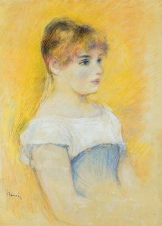 Young Girl in a Blue Corset -  Pierre Auguste Renoir - Date unknown