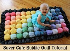 If your love handmade projects you have to consider this bubble quilt for your next cute DIY idea. Made from as little as a few pieces of scrap fabric and some Poly-Fill (or any other fluffy filling), you could easily make a large and comfortable quilt rug, blanket or bed for your toddler. You can use any color of fabric to make a bubble quilt so you can make it into any pattern you like.