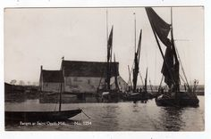 ESSEX, SAINT OSYTH MILL, BARGES, RP | eBay Small Boats, Sailing Ships, Nostalgia, Saints, Traditional, Drawings, Candle, Drawing, Portrait