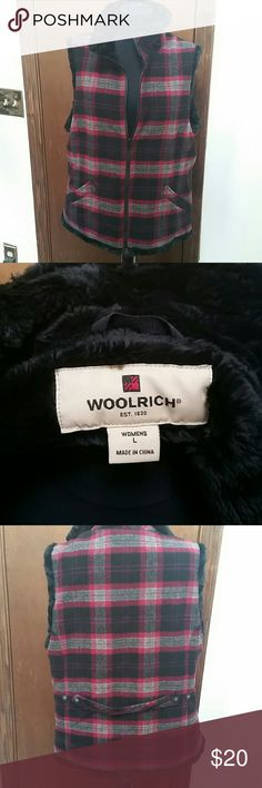 Plaid Wool and Faux Fur Vest Super warm! Wool/nylon shell with acrylic/polyester lining. Reasonable offers welcome through the offer button. Bundle 2 or more items and save! Woolrich Jackets & Coats Vests