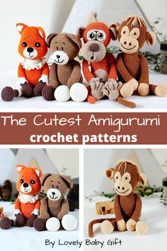 Amigurumi Crochet Patterns to make Easy and Fun Animal Toys. #amigurumi #crochetpatterns #crochetanimals #lovelybabygift Crochet Animal Patterns, Stuffed Animal Patterns, Knitting Patterns, Crochet Gifts, Diy Crochet, Baby Shower Gifts For Boys, Baby Gifts, Easy Amigurumi Pattern, Amigurumi Doll
