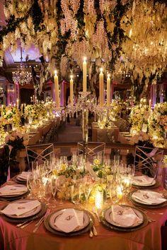 Crystal Candelabrum Centerpiece Photography: Christian Oth Studio Read More: http://www.insideweddings.com/weddings/glamorous-indoor-garden-wedding-in-new-york-city/551/
