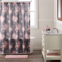LC Lauren Conrad Bold Blossom Shower Curtain from Kohl's Blush Bathroom, Girl Bathroom Decor, Bathroom Kids, Curtains Kohls, Curtains For Sale, Lc Lauren Conrad, Unisex, Shower Curtain Hooks, Shower Curtains